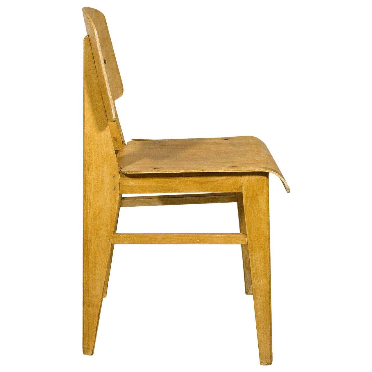 Jean Prouve Chaise En Bois Wooden Standard Chair Circa 1940