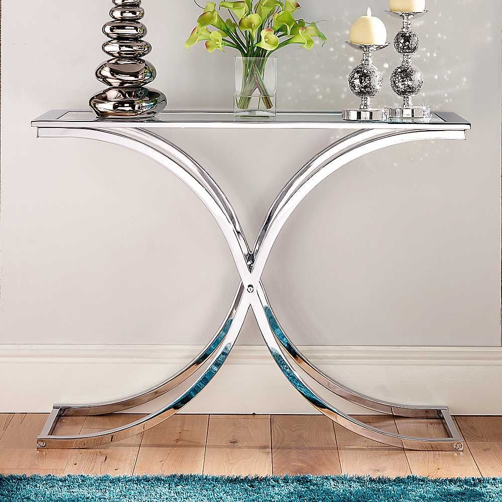 Houston glass chrome console table small console