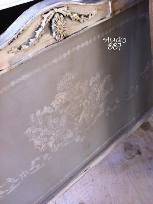 ...a stenciled headboard in Paris Grey and Old White Chalk Paint® decorative paint by Annie Sloan by mari