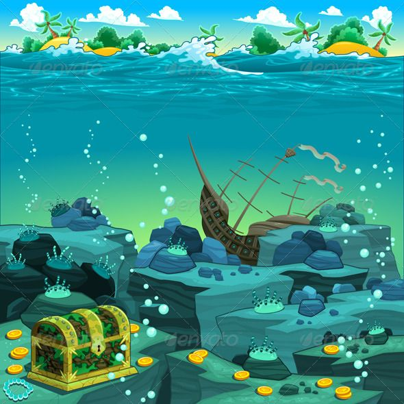 Seascape With Treasure And Galleon Seascape Illustration Wall Cartoon Background