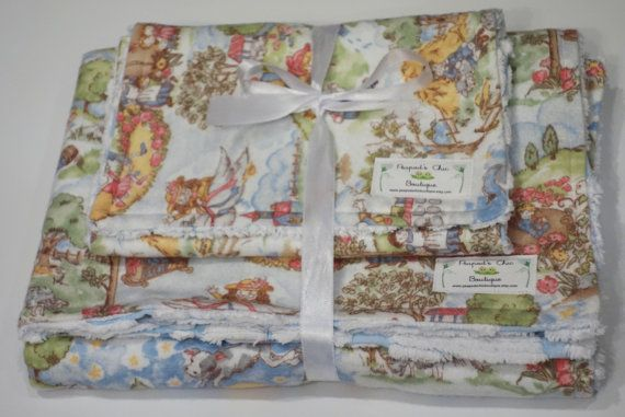 Baby Blanket & Burp Cloth Set  Girl or Boy by PeapodsChicBoutique