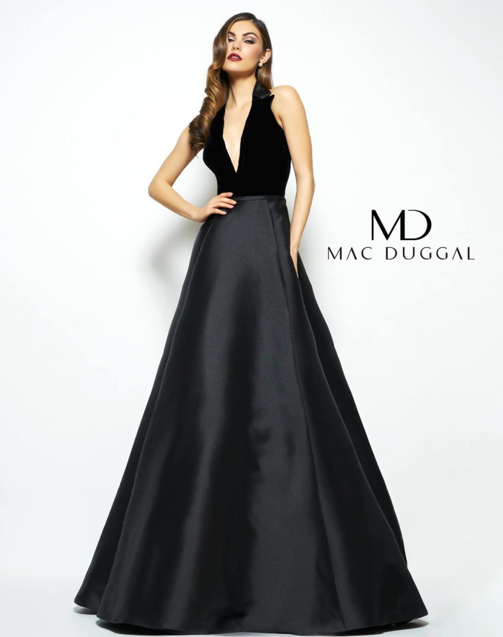 Black halter neck evening gown due in store for fall fall