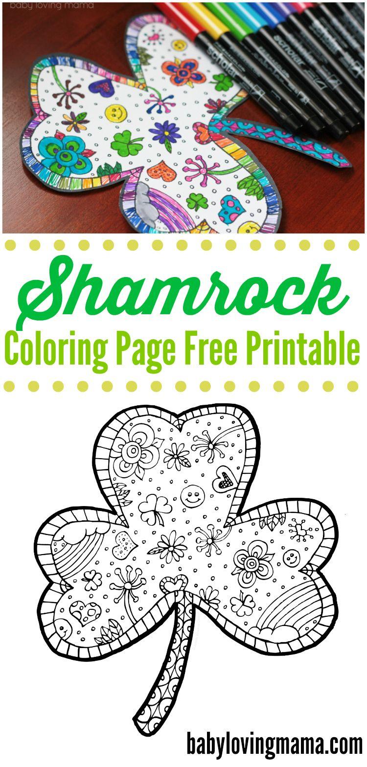 Shamrock Coloring Page Free Printable: Print out this fun shamrock