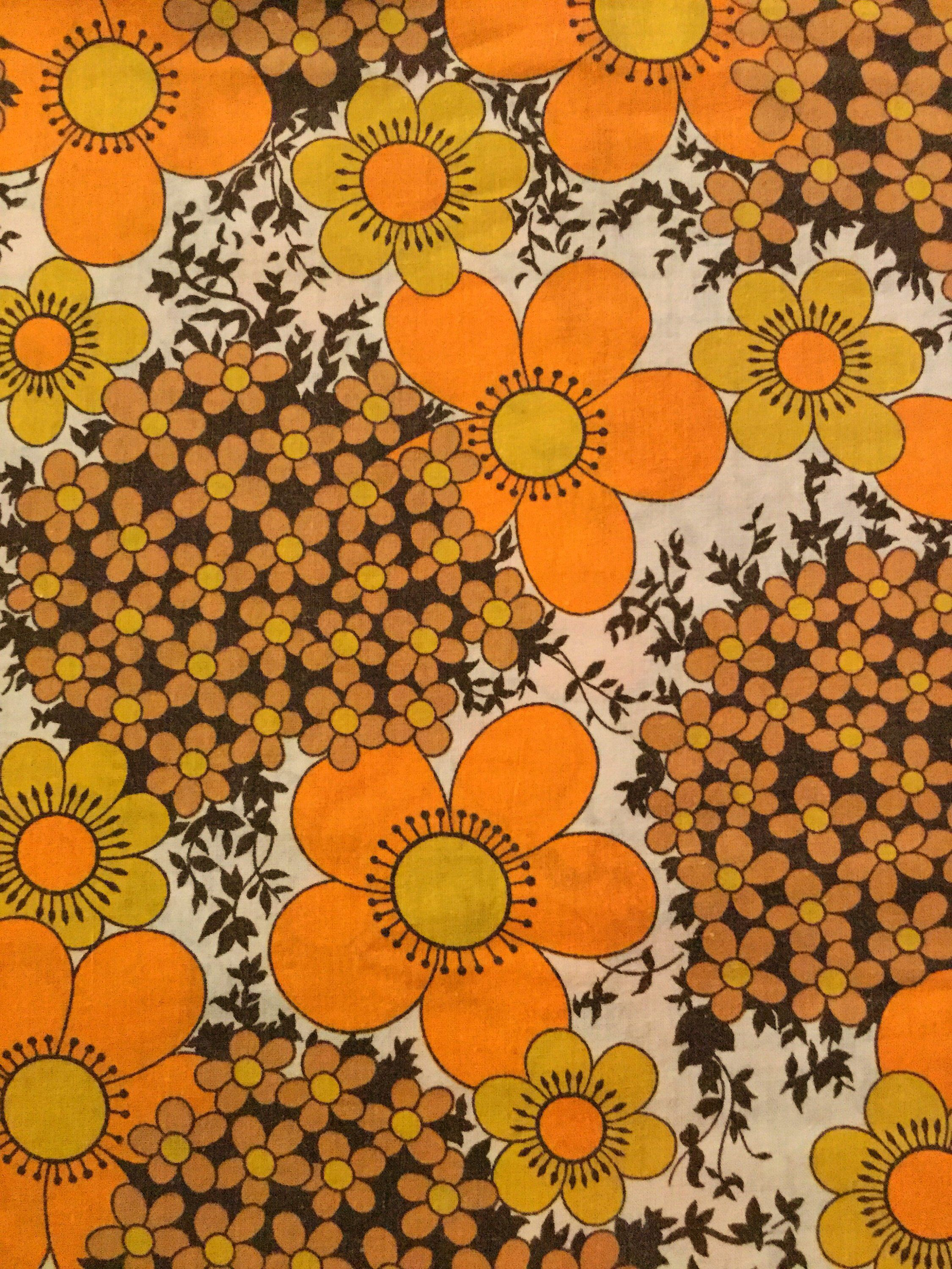 100/% Cotton Floral Fabric Brown Ditsy Retro Vintage Material Quilting Craft 3//4m