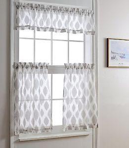 Jacquard Kitchen Curtain Set Window Sheer 3 Piece Curtains Tier