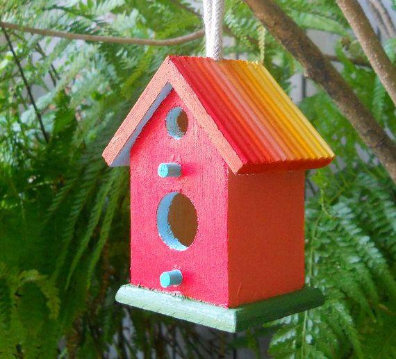 Rainbow Birdhouse One Of A Kind Painted By Preciousbeast On Etsy 39 00 Wooden Bird Houses Bird Houses Bird Houses Painted