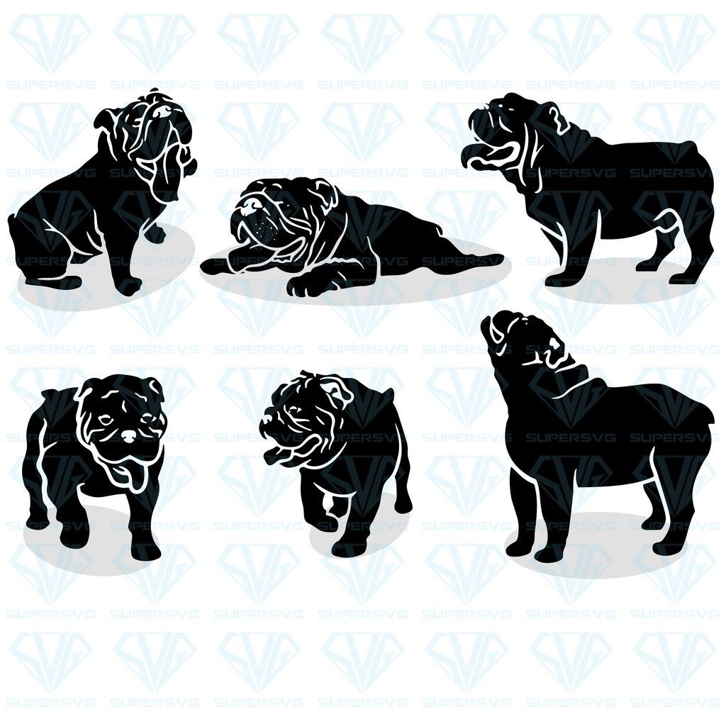 Set English Bulldog Silhouettes Vector Bundle Svg Files For Silhouette Files For Cricut Svg Dxf Eps Png Instant Download Supersvg English Bulldog Art Bulldog Art Silhouette Vector