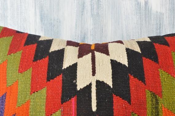 Geometric Kilim Pillow, 16x24 Bohemian Sham Cover, Colorful Pillow Cover, Boho Pillow, Couch Carpet