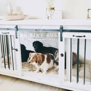 Dog kennel rustic dog crate furniture Free Shipping BEST Easy Lock Kennel Custom Double D