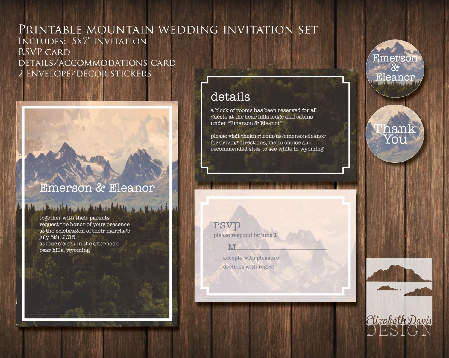 sample wording for rsvp wedding invitations%0A Fall mountains and trees wedding invitation printable    x    forest rustic  nature   RSVP
