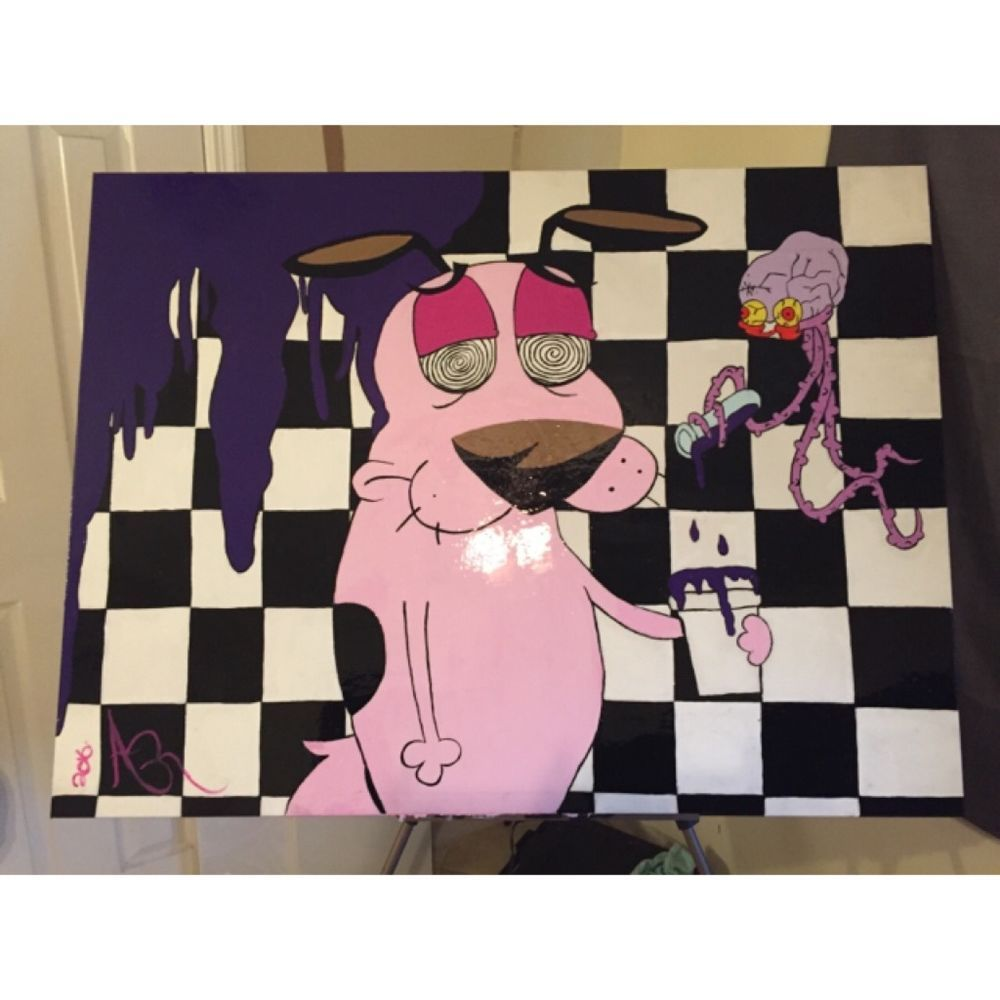 Courage The Cowardly Dog Trippy Big Acrylic Painting Double Cup