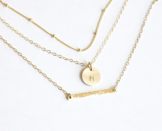 Photo of Layered Necklace, Set of 3, Dainty Jewelry, Layering Necklace, Silver or Gold Delicate Necklace, Personalized Jewelry, Initial Necklace Set