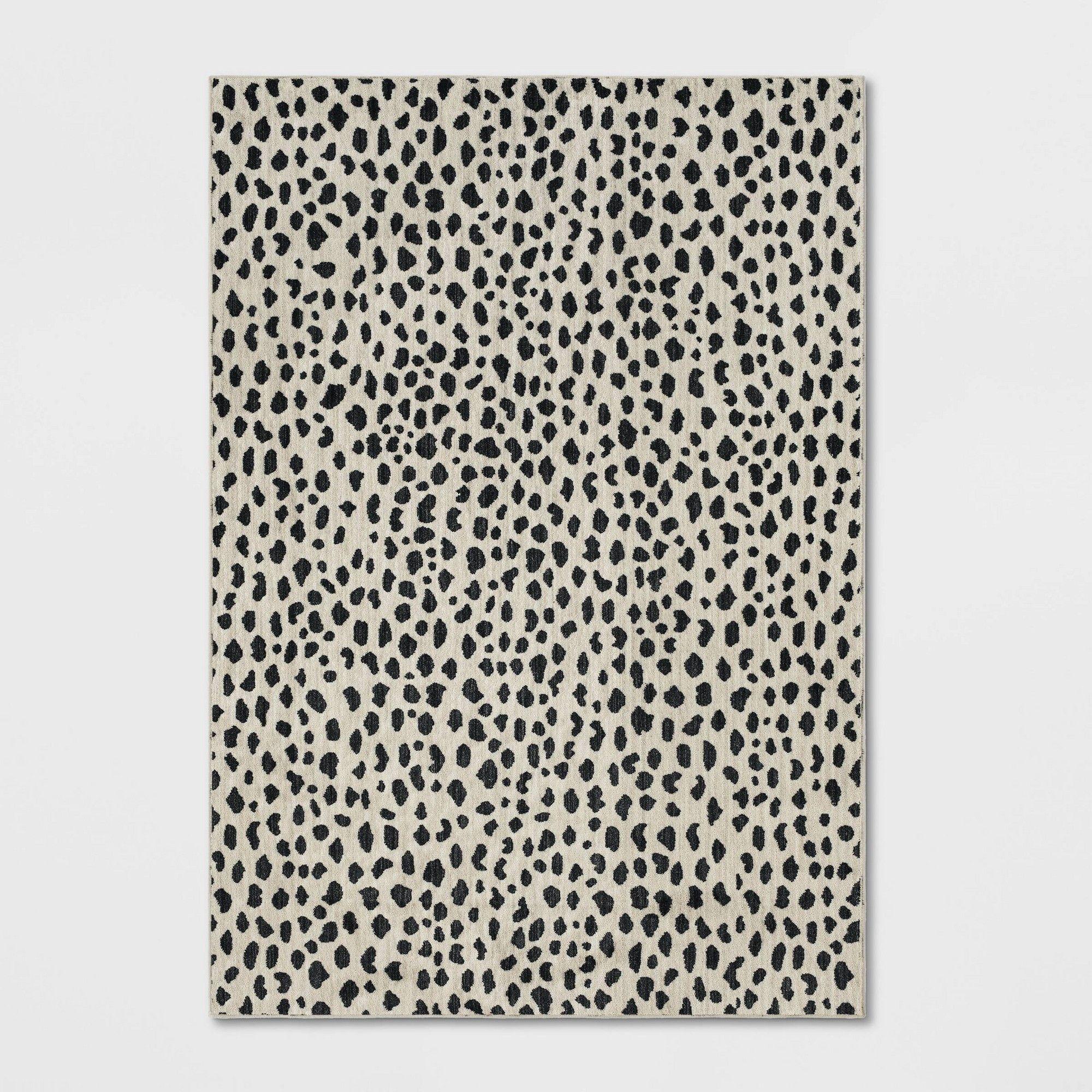 10 X13 Leopard Spot Woven Area Rug Black White Opalhouse