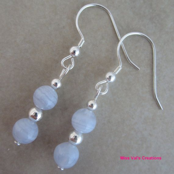 Blue Lace Agate and Sterling Silver Dangle by missvalscreations