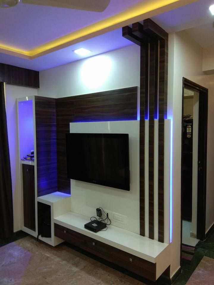 Lcd Panel Design Interior: Tv Unit In Living Room: Modern By Kumar Interior Thane