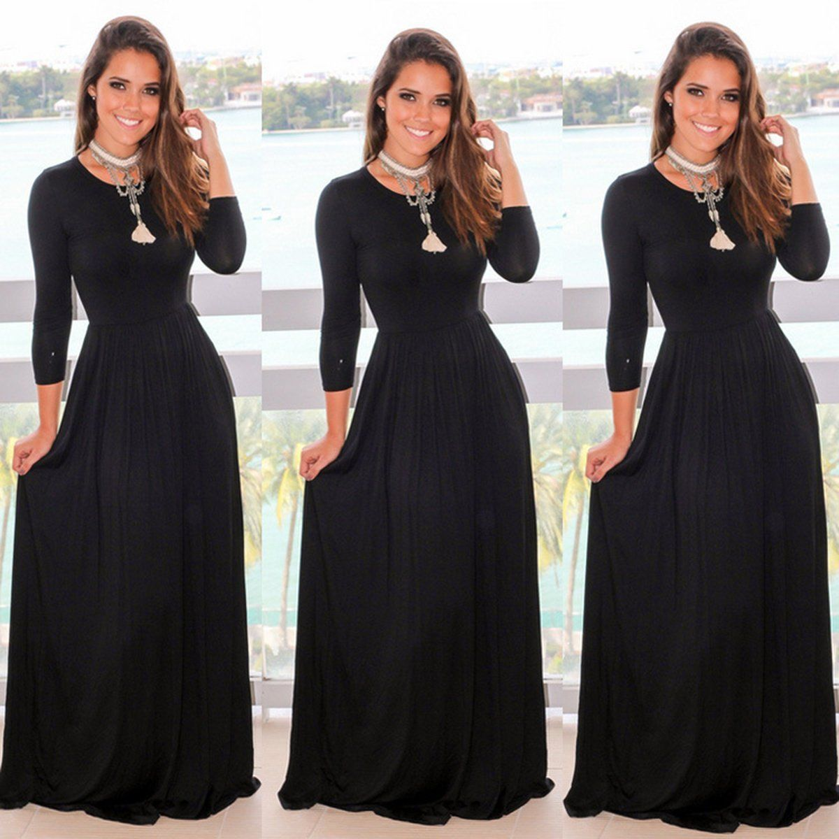 Womenus casual long maxi dress long sleeve evening party cocktail