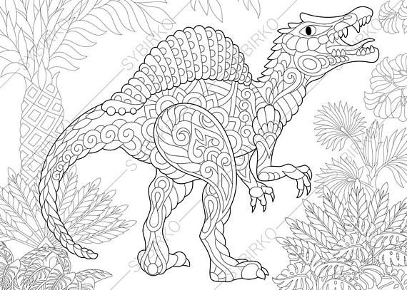 Adult Coloring Pages Dinosaur Spinosaurus Zentangle Doodle - fresh realistic rhino coloring pages