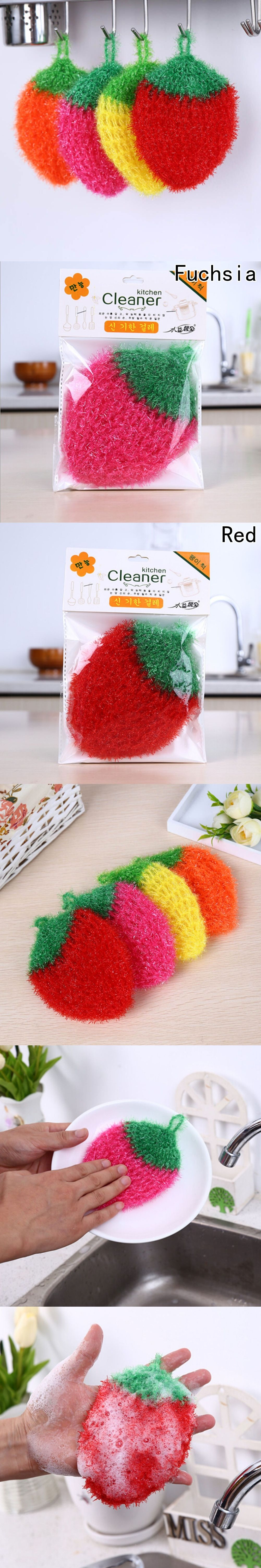 Hot sale strawberry dishwashing clean towel polyester silk cleaning