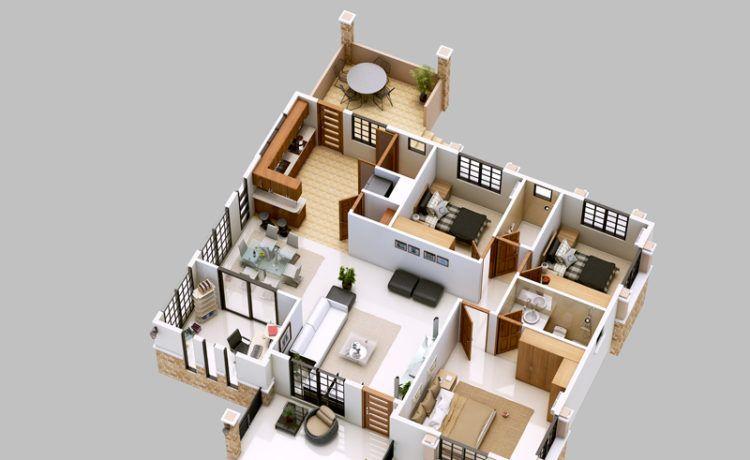 Spectacular 3d Home Floor Plans Bungalow Floor Plans Bungalow House Design Three Bedroom House Plan