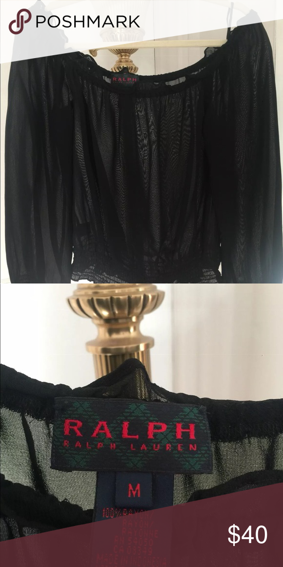 Ralph Lauren black label sheer off shoulder top