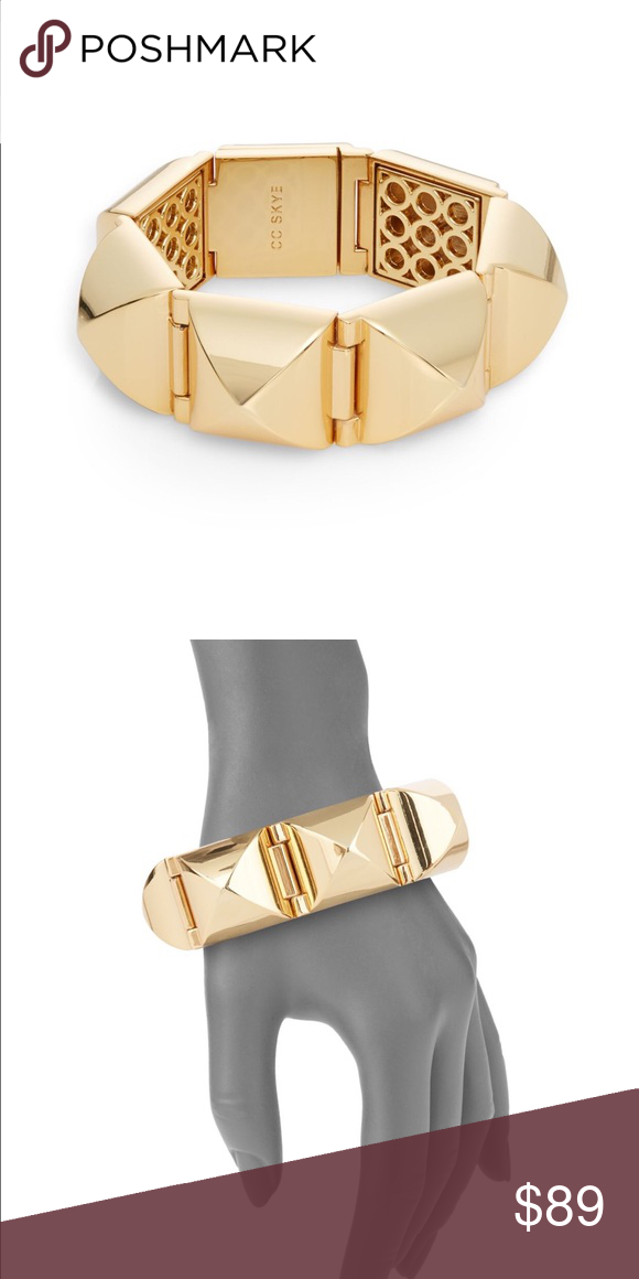 """New CC Skye Pyramid Stud Bracelet! New CC Skye Pyramid Stud Bracelet!  Definitely a statement piece with a refined rebellious twist. 18K yellow gold plated.  8"""" in length and 1"""" in width. Magnetic clasp closure. CC Skye Jewelry Bracelets"""
