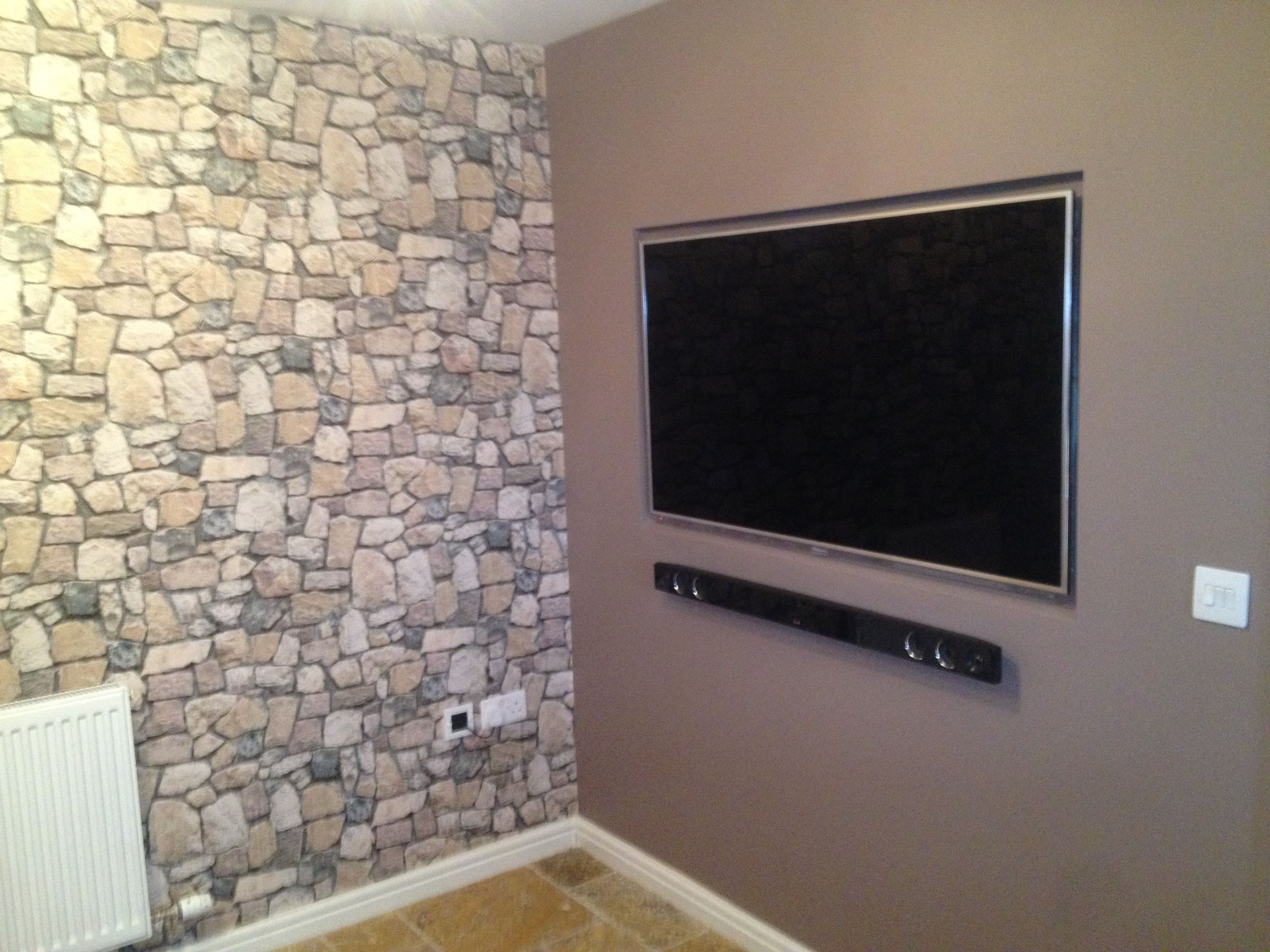 55 panasonic recessed flat screen tv installation complete with hidden cabling sound bar - Bar built into wall ...