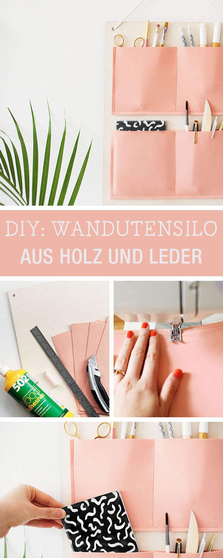 DIY-Anleitung: Wandutensilo aus Holz und Leder machen via DaWanda ...