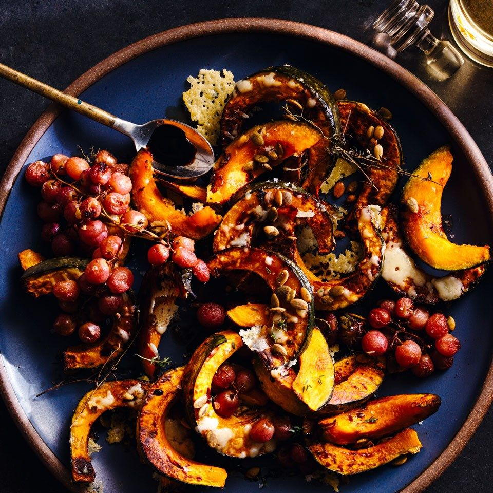 Roasted Kabocha Squash Grapes Recipe Roasted Vegetable