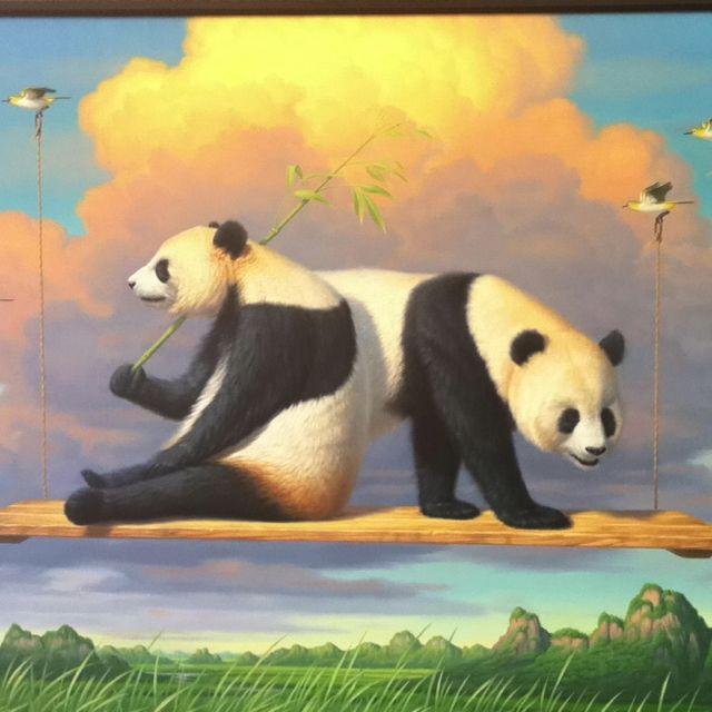 Panda art by Phillip Singer at the Main Street Art Festival in Fort Worth.