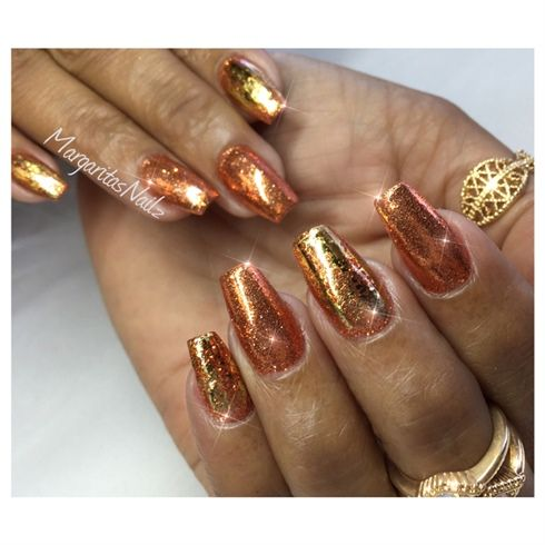 Copper and gold glitter nails holiday nail art design nails copper and gold glitter nails holiday nail art design prinsesfo Choice Image