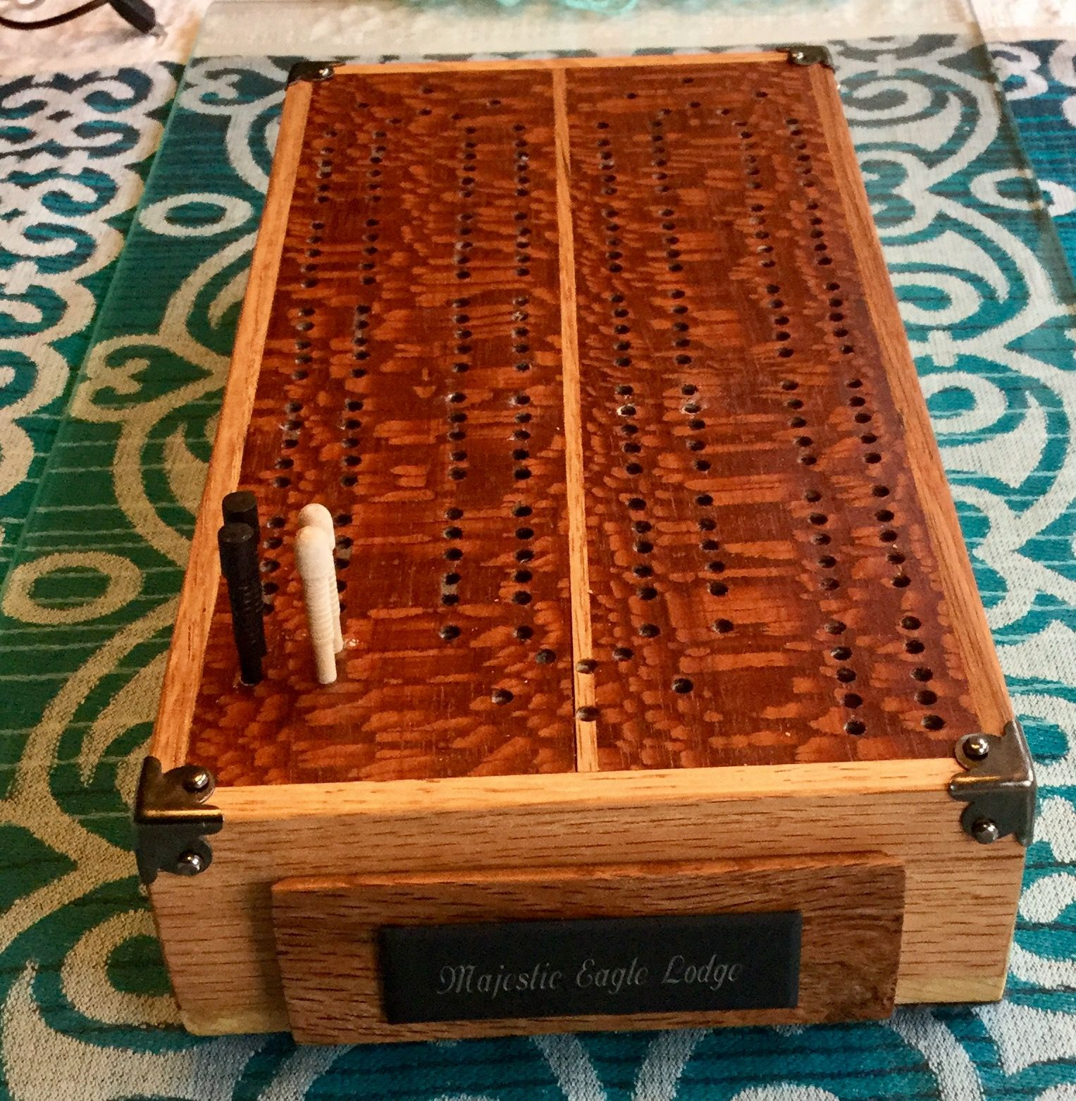 Another cribbage board that is more compact. It has a drawer fr ...