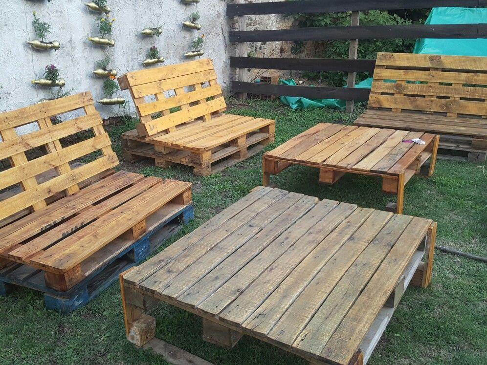 Juego De Jardin Con Palets Sillones Y Mesas Facil De Armar Se - Sillon-palets-madera