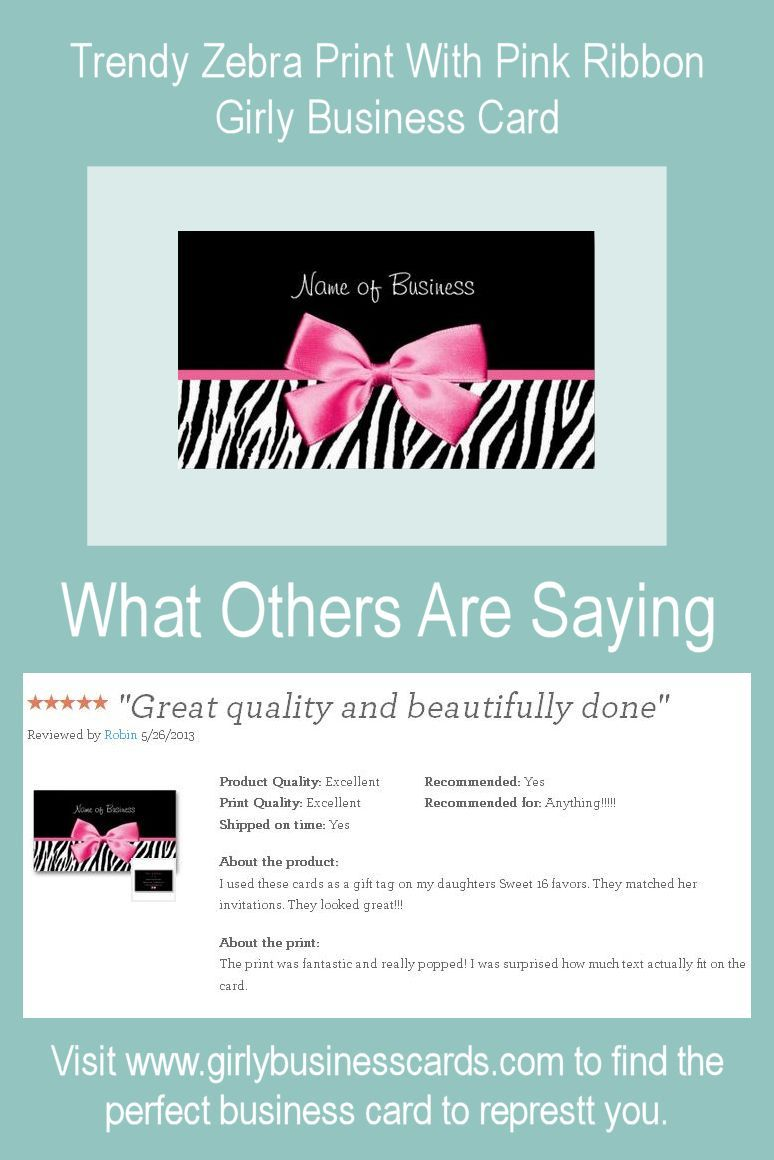 5 STARS for this girly business card: Trendy Black And White Zebra ...