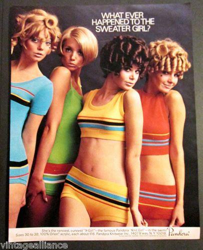 c11f4cfaee3cf Vintage 1968 Cute Girls in Pandora Swimsuits Bikini Mod Fashion 60's Print  Ad   eBay