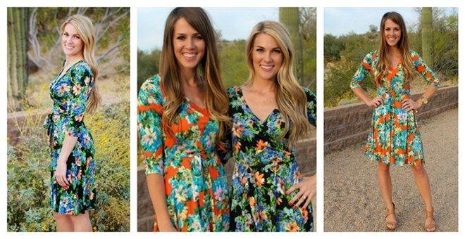 3brunettes Knee Length Wrap Dress - Floral Edition!