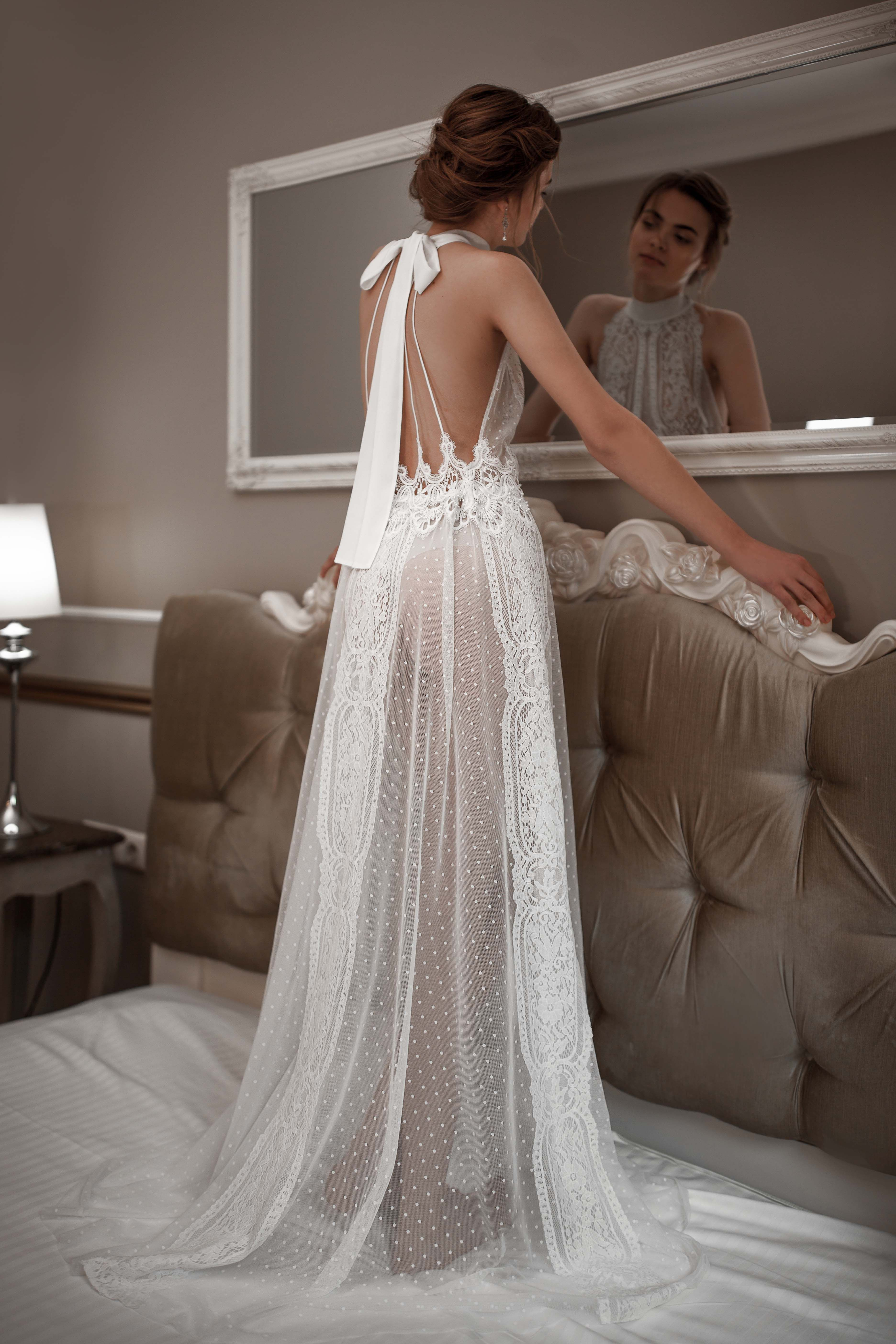 8d6ec462dce LONG TULLE BRIDAL NIGHTGOWN WITH LACE F-41 Weightless polka dot mesh  combined with Chantilly