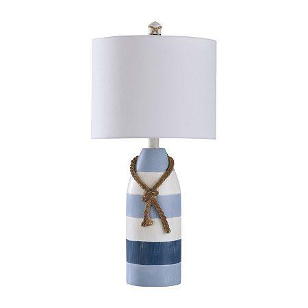 Stylecraft 10 W Blue Stripe Polyresin Table Lamp, Color: Blue Stripe - JCPenney