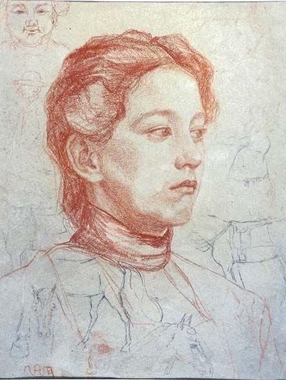 Glava djevojke u desnom poluprofilu Nasta Rojc