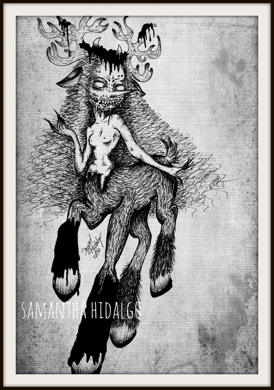 "mature content horror folklore 4x6 art print ""faun girl"" on matte"