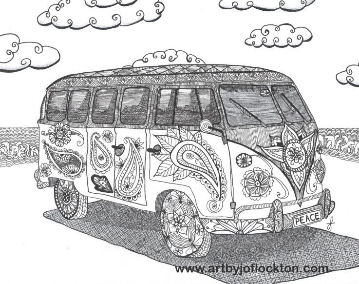 hippie vw bus adult colouring zentangles adult colouring pinterest vw bus adult. Black Bedroom Furniture Sets. Home Design Ideas