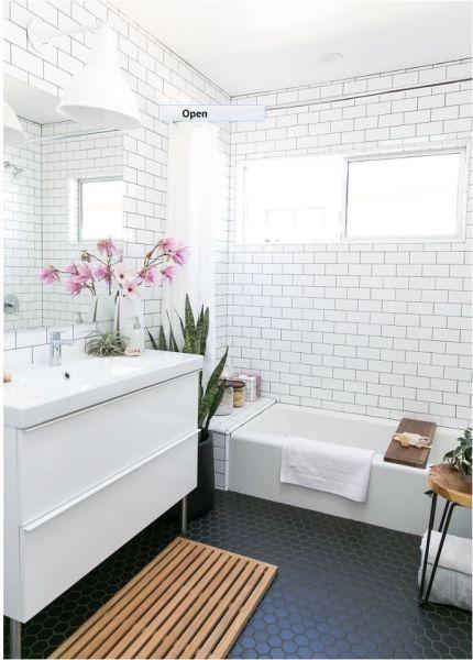 Black Hexagon Tile Floor Relaxing Bathroom White Bathroom Designs Bathroom Floor Tiles