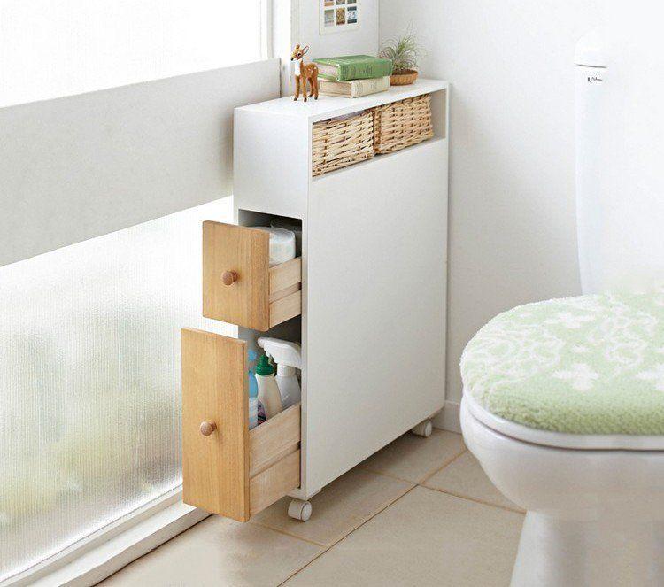 Armoire De Rangement Blanche Et A Roulettes A Tiroirs En Bois Pour Y Stocker Les Rouleaux De Papier Toilette Bathrooms Remodel Cabinet Remodel Trendy Bathroom
