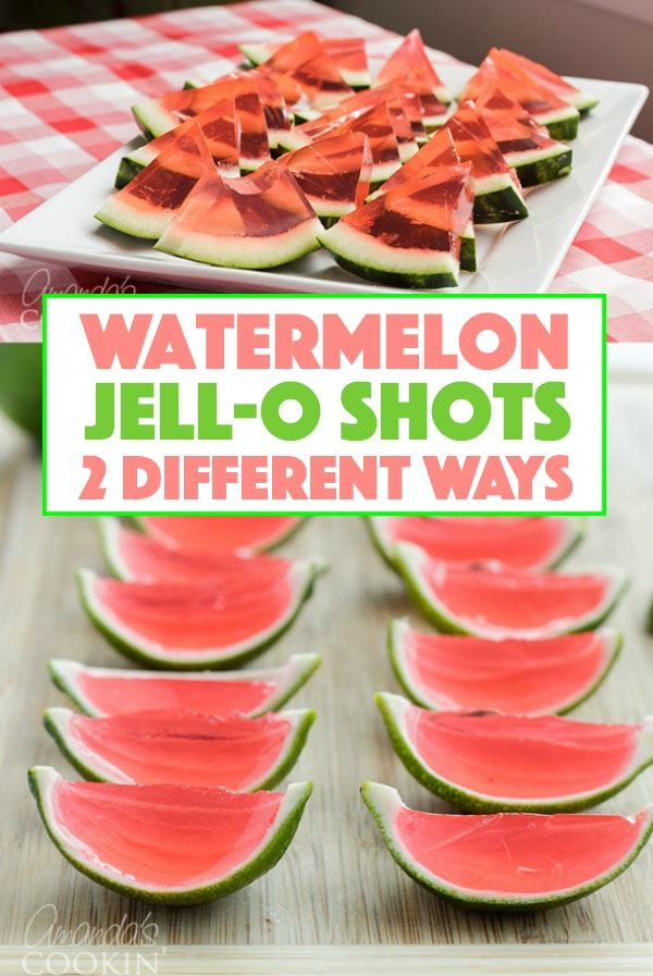 These Watermelon Jello Shots are a party favorite! Jello shots are perfect to bring to BBQ's, potlucks, camping or any type of gathering. #jelloshots