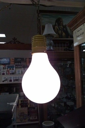 Working Vintage Mid Century Pop Art Gl Light Bulb Hanging Swag Lamp W Chain Ebay