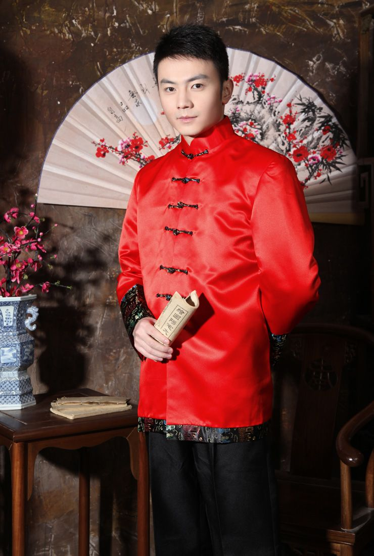 6dfe9bbc6 #Professionalimage ~ chinese wedding groom wedding dress men costume wild  the groom dress red suit toast Thumbnail