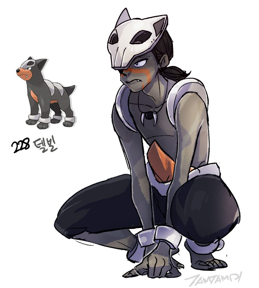 Pokemon Gijinka 228. Houndour 229. Houndoom | Pokemon ...