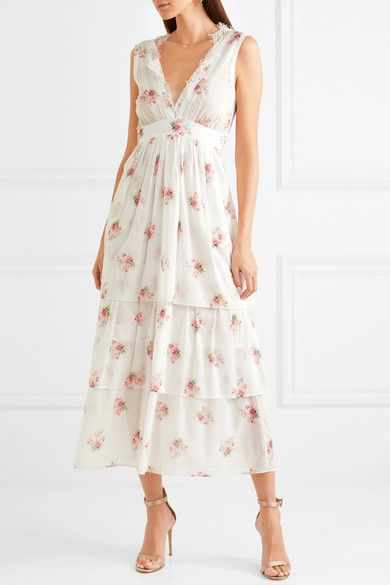 c33e4c3792 Brock Collection - Dale Lace-trimmed Floral-print Cotton-voile Dress - White