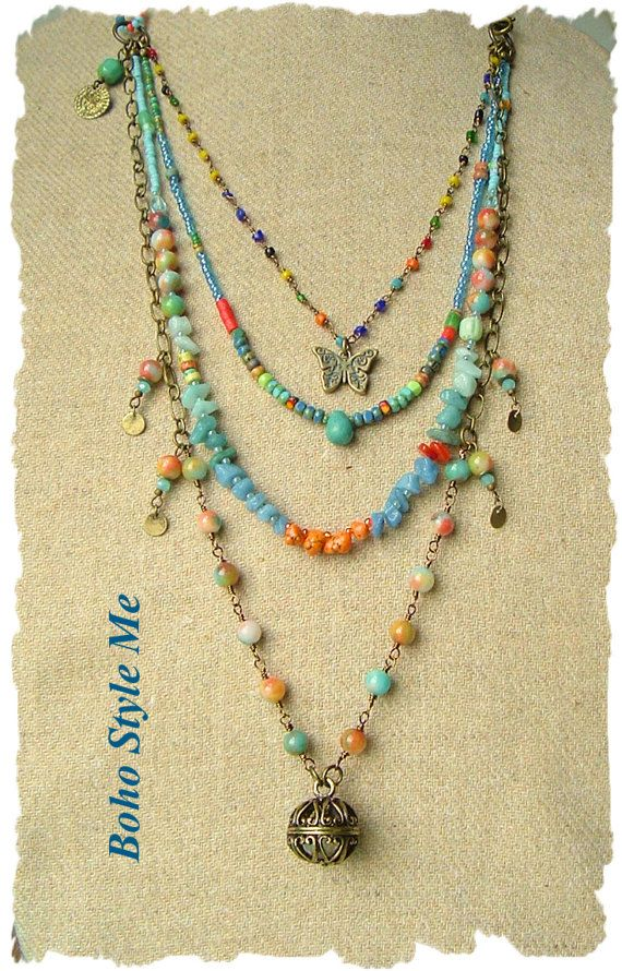 Bohemian Jewelry Colorful Layered Beaded Necklace By Bohostyleme