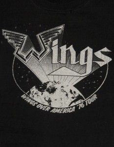 Vintage 70s WINGS Paul McCartney OVER AMERICA 1976 Rock TOUR T Shirt