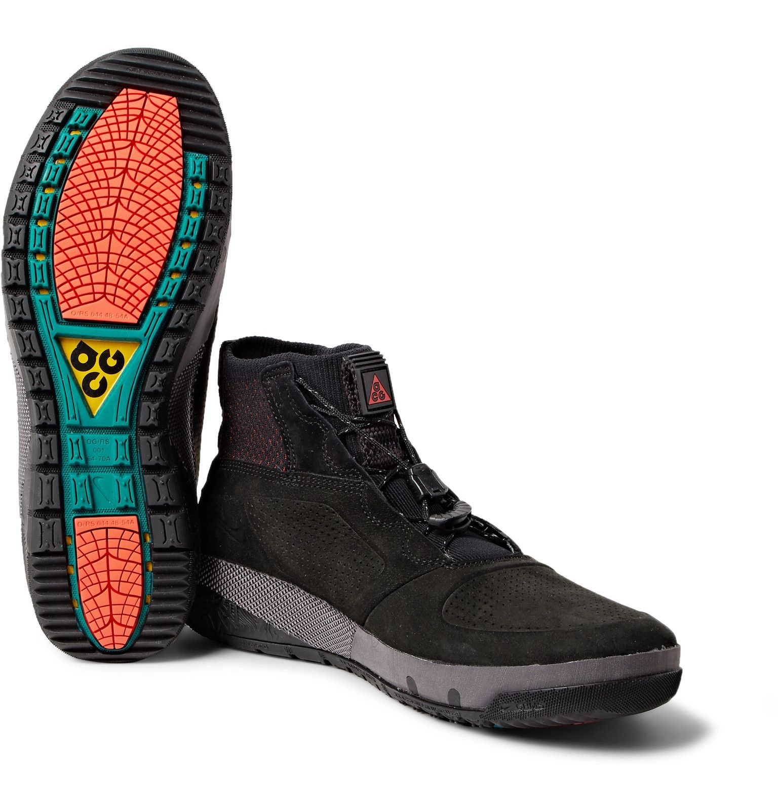 1e88c667ec06 Nike - ACG Ruckel Ridge Perforated Suede And Flyknit Sneakers ...
